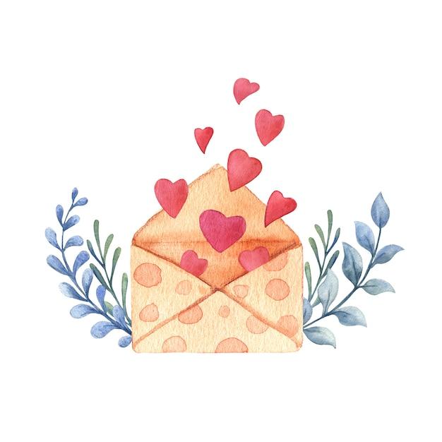 Walentynki Akwarela Karty. Premium Zdjęcia