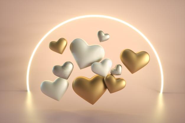 Walentynki Białe I Złote Serca Premium Zdjęcia