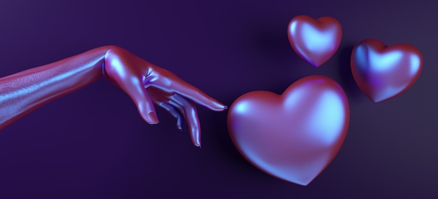 Walentynki Dłoni Dotykając Serca Tło. Holograficzny Neonowy Kolor Leżał Płasko. Uwielbiam Kartkę Z życzeniami Premium Zdjęcia