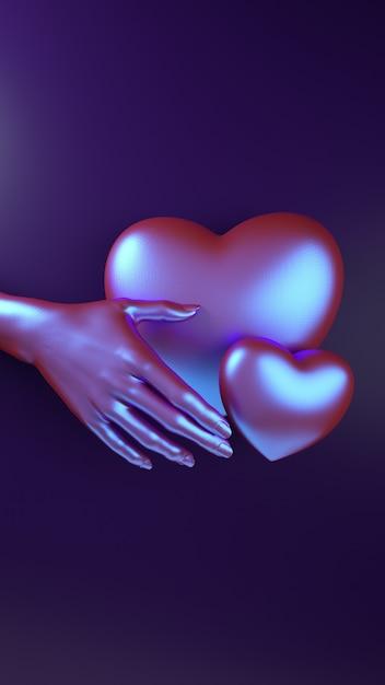 Walentynki-dzień Ręka Trzyma Serce Tło. Holograficzny Neonowy Kolor Leżał Płasko. Premium Zdjęcia