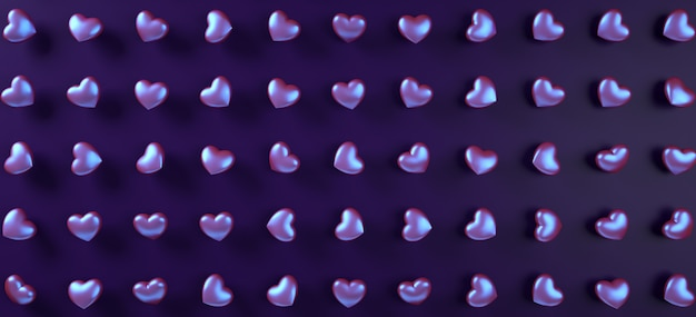 Walentynki-dzień Serca Tło Wzór. Holograficzny Płaski Fioletowy Neon Leżał. Premium Zdjęcia