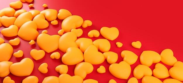 Walentynki-dzień Serca Tło Wzór. Odważny Czerwony Kolor Leżał Płasko. Kocha świętowania Kartka Z Pozdrowieniami, Plakat, Sztandaru Szablon Dla Przyjęcia 3d Renderingu Ilustraci Premium Zdjęcia