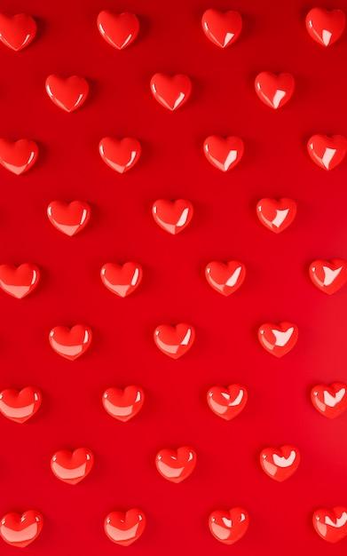 Walentynki-dzień Serca Tło Wzór. Odważny Czerwony Kolor Leżał Płasko. Kocham Uroczystości Kartkę Z życzeniami, Plakat, Szablon Transparent Na Imprezę Premium Zdjęcia