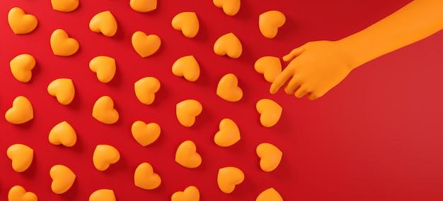 Walentynki Ręcznie Zbieranie Serca Tło Wzór. Odważny Czerwony Kolor Leżał Płasko. Kocham Uroczystości Kartkę Z życzeniami, Plakat, Szablon Transparent Na Imprezę Premium Zdjęcia