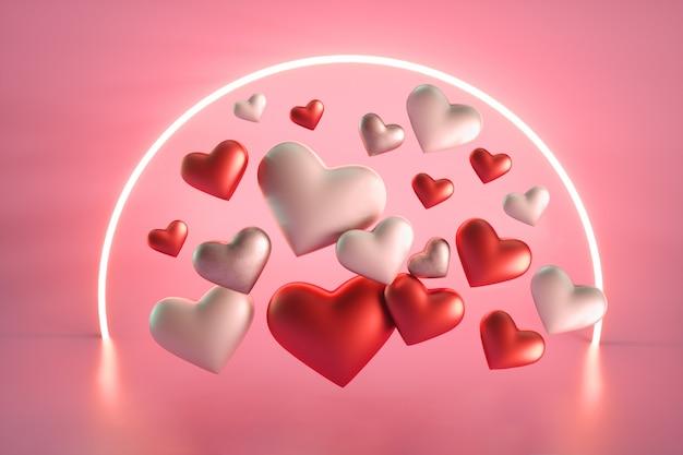 Walentynki Serca Z Neonowym Kółkiem Premium Zdjęcia