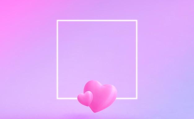 Walentynki Z Białą Poświatą Kwadratową Ramką. Dwa Słodkie Walentynkowe Serca Znajdują Się Na Dole Ramki. Różowe I Niebieskie Tło Gradientowe. Miejsce Na Tekst Premium Zdjęcia