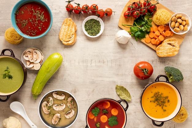 Warzywa Kremowe Zupy I Składniki Kopiować Miejsca Darmowe Zdjęcia