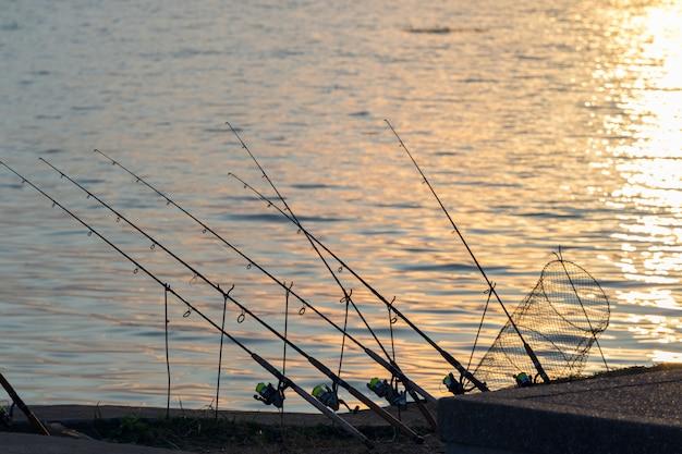 Wędka Z Jeziorem. ładne Miejsce Do łowienia Ryb. Premium Zdjęcia