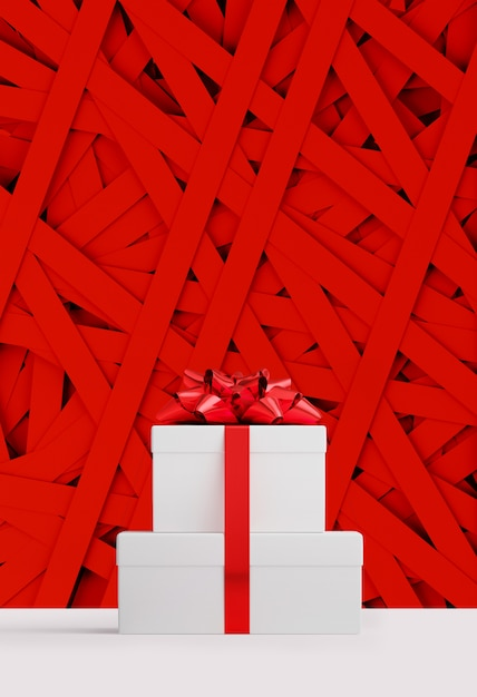 Wesołych świąt I Szczęśliwego Nowego Roku Banner Internetowy. Białe Pudełko Na Prezenty I Czerwona Wstążka Na Losowym Czerwonym Pasku Papieru. 3d Renderowania Ilustracja. Premium Zdjęcia