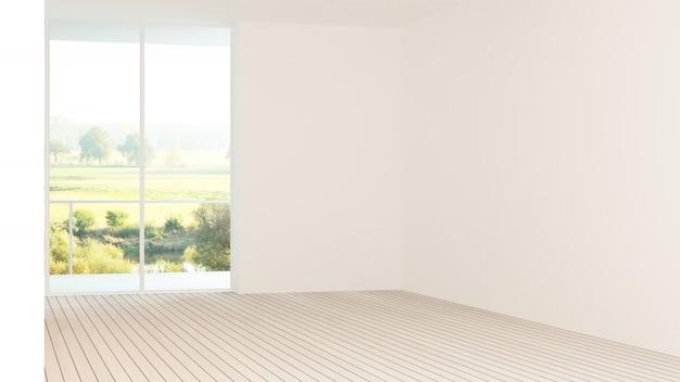 Wewnętrzna pusta ściana w kondominium renderingu 3d Premium Zdjęcia