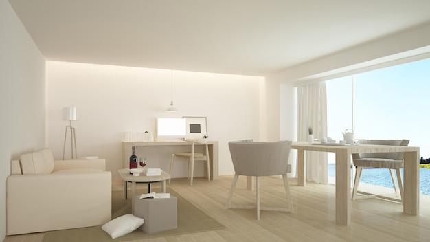Wewnętrzny minimalistyczny hotel relaksuje przestrzennego renderingu 3d i natury widok Premium Zdjęcia