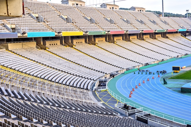 Wewnętrzny widok olimpijski stadium, barcelona, hiszpania Premium Zdjęcia