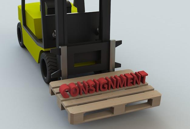 Wiadomość Na Drewnianym Filecie Z Wózkiem Widłowym Premium Zdjęcia