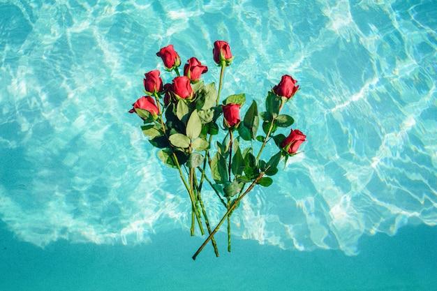 Wiązka Czerwone Róże Unosi Się Na Wodzie Darmowe Zdjęcia