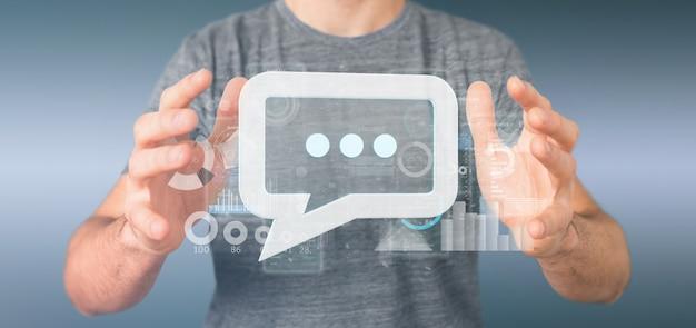 Widok biznesmena trzyma ikonę wiadomości z danymi ing Premium Zdjęcia