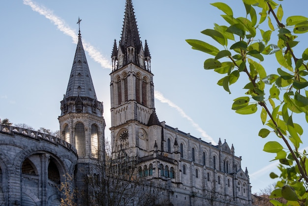Widok Katedry-sanktuarium W Lourdes (francja) Premium Zdjęcia
