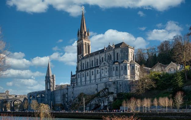 Widok Na Bazylikę Lourdes We Francji Premium Zdjęcia