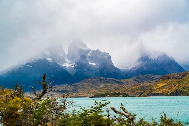 Widok Na Pokryte Mgłą Cuernos Del Paine I Jezioro Pehoe W Parku Narodowym Torres Del Paine, Chile Premium Zdjęcia