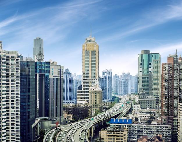 Widok na pudong new area, szanghaj, chiny Premium Zdjęcia