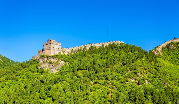 Widok Na Wielki Mur Chiński W Juyongguan - Pekin Premium Zdjęcia