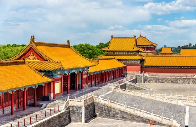Widok Na Zakazane Miasto Lub Muzeum Pałacowe - Pekin, Chiny Premium Zdjęcia