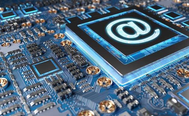 Widok nowoczesnej karty gpu z ikoną email Premium Zdjęcia