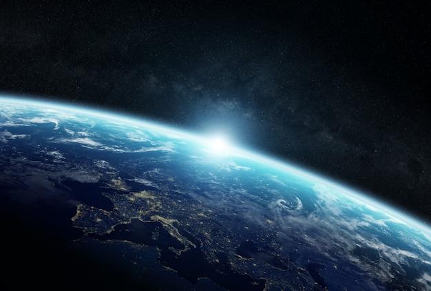 Widok Planety Ziemia W Kosmosie Premium Zdjęcia