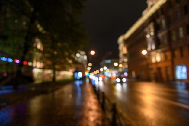 Widok Ruchu Na Ulicy Miasta, Blured Tło Premium Zdjęcia