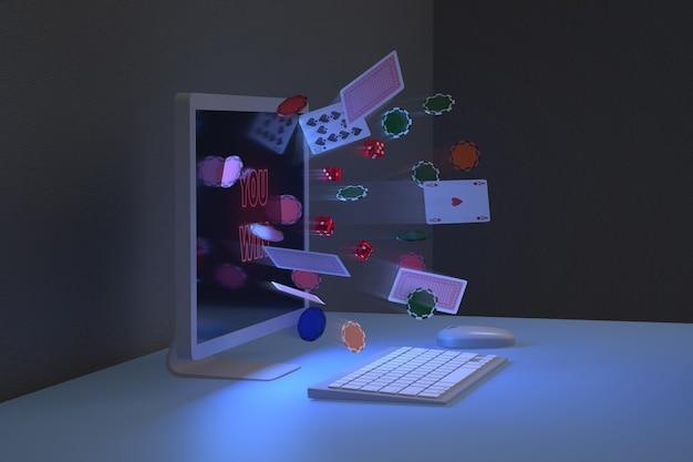 Widok Z Boku żetonów, Kart I Kości Wychodzących Z Monitora Komputera. Koncepcja Gier Online. Premium Zdjęcia