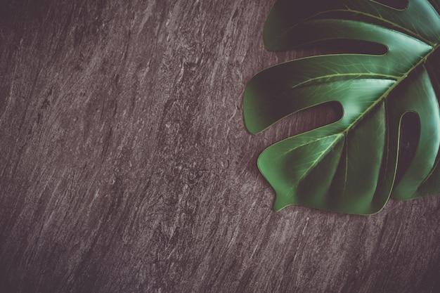 Widok Z Góry Ciemny Szary Czarny Ton Marmur Tekstura Streszczenie Tło Z Zielonym Naturalnym Liściem Jak Ramki. Premium Zdjęcia