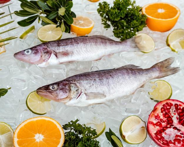 Widok Z Góry Dwóch Surowych Ryb Umieszczonych Na Lodzie W Otoczeniu Plastrów Owoców Darmowe Zdjęcia