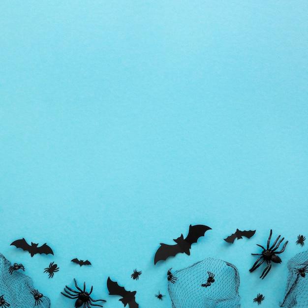 Widok Z Góry Elementy Halloween Z Miejsca Na Kopię Darmowe Zdjęcia