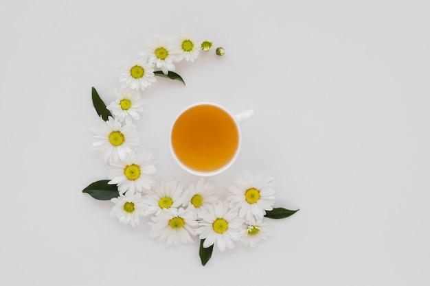 Widok z góry filiżankę herbaty w otoczeniu kwiatów Darmowe Zdjęcia