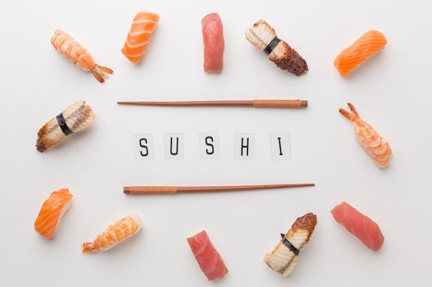 Widok Z Góry Koncepcja Dzień Sushi Premium Zdjęcia