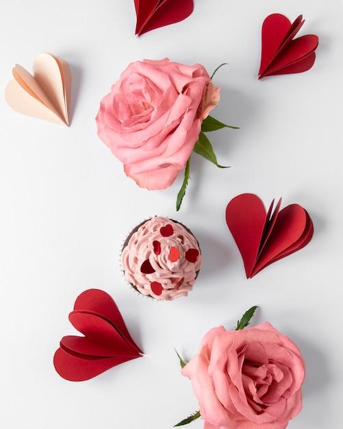 Widok Z Góry Koncepcji Pięknych Walentynek Darmowe Zdjęcia