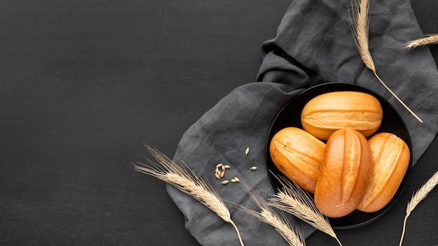 Widok Z Góry Koncepcji Pyszne Bułeczki Chleba Darmowe Zdjęcia