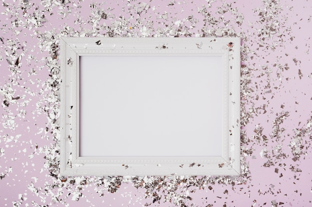Widok z góry kopia przestrzeń makieta ramki z brokatem Darmowe Zdjęcia