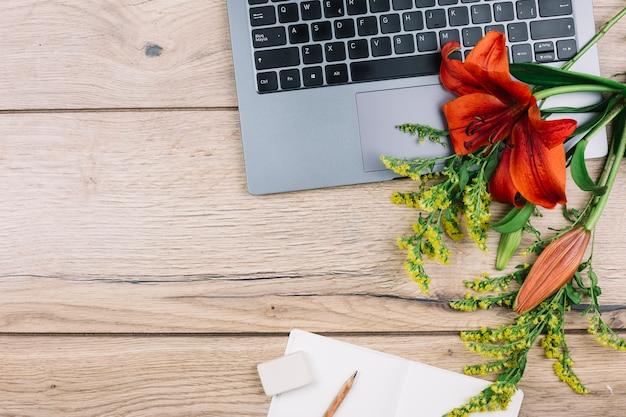 Widok z góry laptopa; gumka do mazania; ołówek; papier; goldenrods lub solidago gigantea i kwiaty lilii na drewniane biurko Darmowe Zdjęcia