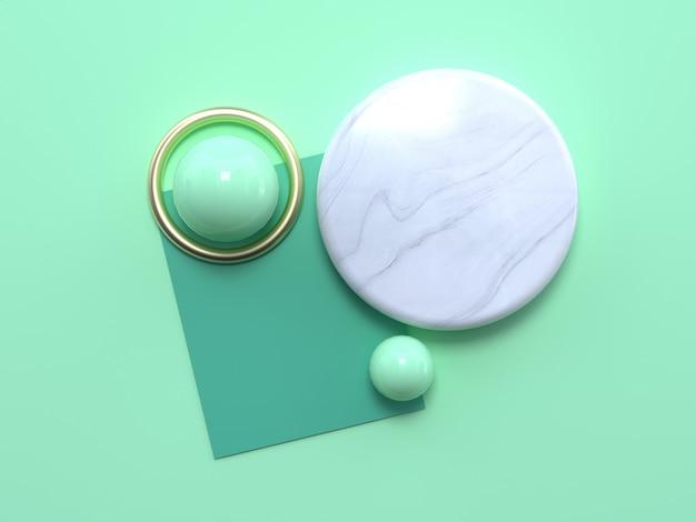 Widok z góry marmurowe kółko i zielone kulki Premium Zdjęcia