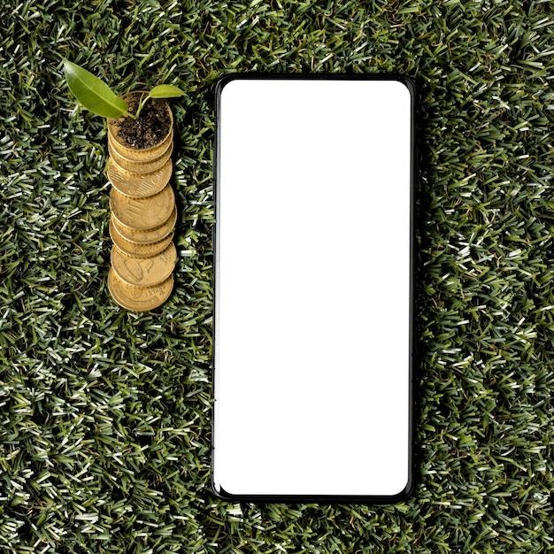 Widok Z Góry Monet Na Trawie Ze Smartfonem I Rośliną Darmowe Zdjęcia