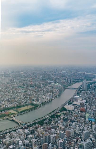 Widok Z Góry Na Miasto Tokio W Japonii. Premium Zdjęcia