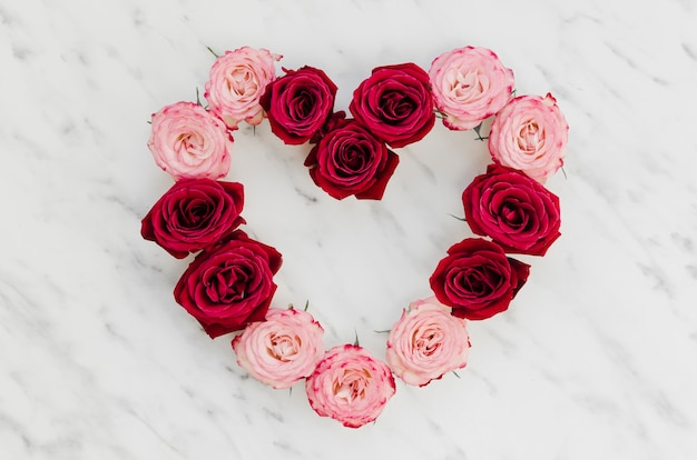 Widok Z Góry Na Piękne Serce Róży Darmowe Zdjęcia