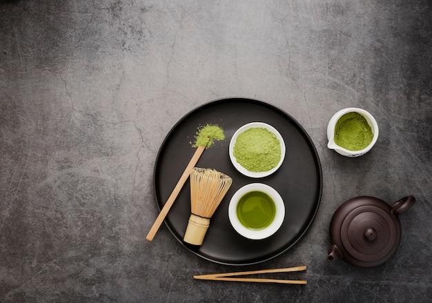 Widok Z Góry Niezbędników Herbaty Matcha Premium Zdjęcia