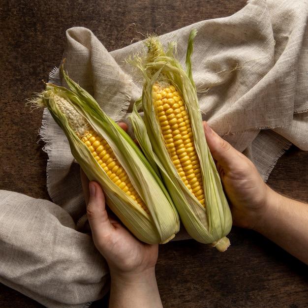 Widok Z Góry Osoby Trzymającej Kukurydzę Darmowe Zdjęcia