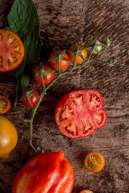 Widok Z Góry Plasterki Papryki I Pomidora Darmowe Zdjęcia