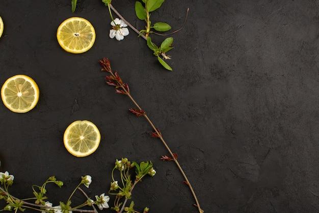 Widok Z Góry Pokrojone Cytryny Kwaśne świeże Wraz Z Białymi Kwiatami Na Ciemnym Tle Darmowe Zdjęcia