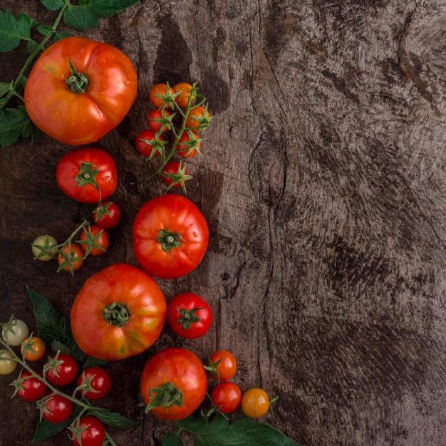 Widok Z Góry Pyszne Pomidory Ramki Darmowe Zdjęcia