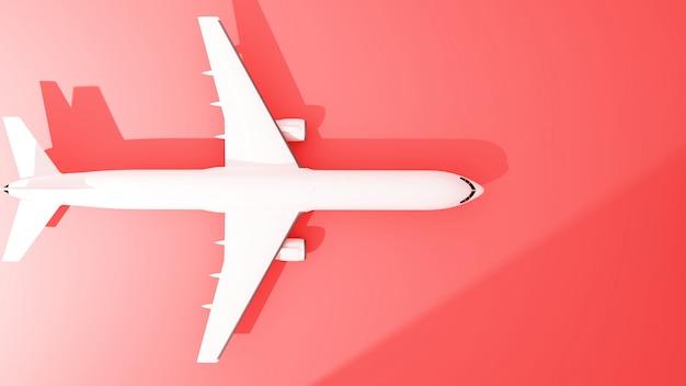 Widok Z Góry Samolotu Na Czerwono - Renderowanie 3d Premium Zdjęcia