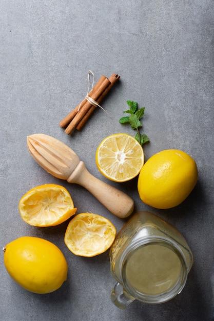 Widok Z Góry Słoik Z Domowej Lemoniady Darmowe Zdjęcia