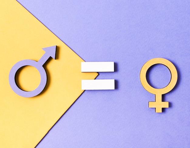 Widok Z Góry Symboli Płci żeńskiej I Męskiej Darmowe Zdjęcia